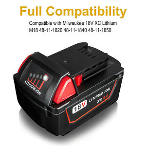 For Milwaukee 18V M18 M18B4 48-11-1840 48-11-1828 XC 5.0AH Lithium Ion Battery