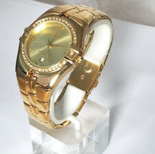 Peugeot 155 men's Yellow Gold Plated Round Case Crystals encrusted Bezel Watch