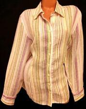 Coldwater creek purple yellow striped button down long sleeve plus top 2X