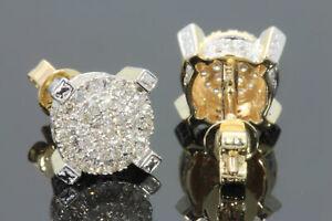 10K YELLOW GOLD .55 CARAT MENS WOMENS 9 mm 100% GENUINE DIAMONDS EARRING STUDS