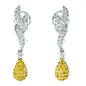 18k Two Tone Gold 1.42ctw White & Yellow Diamond Drop Dangle Omega Back Earrings