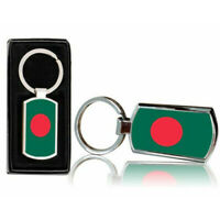Bangladesh Country Flag Printed Chrome Metal Keyring With Free Gift Box 0014