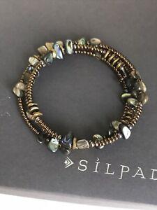 SILPADA Sterling Silver Abalone Shell Bronze Brass Bead Wrap Bracelet B1706