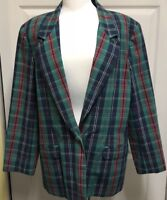 Country Suburbans Retro Teal Plaid Cotton Blazer Jacket Womens Sz 14  XL