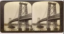 Largest Suspension Williamsburg Bridge NY SS Texas Ship 1900s Stereoview Photo