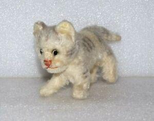 VTG PLUSH GERMAN STEIFF MINIATURE Walking Kitten MOHAIR TABBY CAT STUFFED ANIMAL
