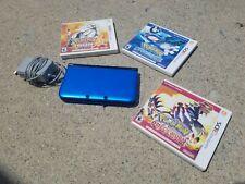 Nintendo 3DS XL Console Blue/Black Pokemon Games Bundle Lot Sun Omega Ruby Alpha