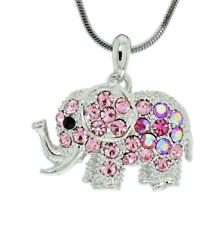 """ELEPHANT Pendant Made With Swarovski Crystal Pink Good Luck Necklace 18"""" Chain"""