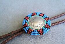 Tie Bennett C31 - Vintage Estate Find Beaded Indian Head Nickel & Leather Bolo