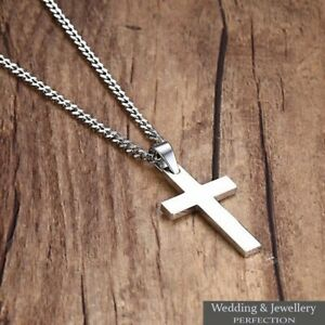 Mens Chain Necklace Silver Cross Pendant Rosary Jesus Men's Stainless Steel Love