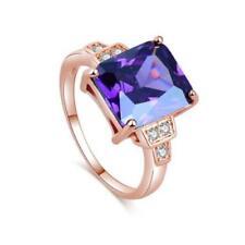 Elegant Rose Gold Rectangle Purple Amethyst Wedding Engagement Ring Size: 9