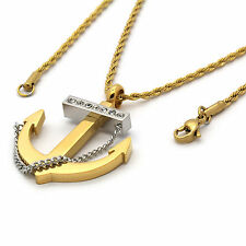 "Mens Gold Plated Stainless Steel Anchor Pendant 2mm 24"" Inch Rope Chain Necklace"