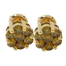 3372- 10K YELLOW GOLD DIAMOND FLORET CLUSTER EARRINGS 1.76CTS 2.11GR