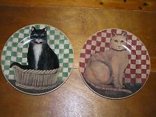Estate Lot of 2 David Carter Brown COUNTRY Cats Yellow Black Kitty Plates – 8 in