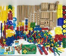 Brio MEC Construx ~ Kids At Work Toys HUGE Lot Of 300+ Pcs Wood Tools Children