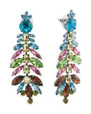 Kenneth Jay Lane Glass Stones Chandelier Earrings Made in USA New