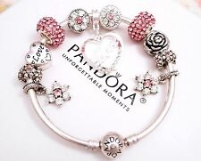 Authentic Pandora Silver Bangle Charm Bracelet, Pink Love Heart European Charms