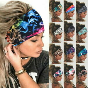 Women Wide Headband Stretch Hairband Elastic Butterfly Hair Band Boho Turban