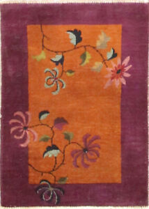 """Art deco Chinese Rug ,The dancing flowers  2'1"""" x 2'11"""" #17236"""