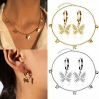 Fashion Butterfly Jewelry Sets Earrings Choker Pendant Necklaces Clavicle Gold