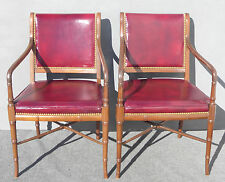 Pair Cabot Wrenn Luxury Red Burgundy Leather Accent Arm Chairs Decorative Nails