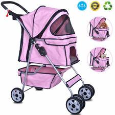 4 Wheels Pet Stroller Cat Dog Cage Stroller Walk Travel Folding Carrier Pink