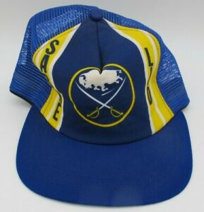 Vtg Buffalo Sabres Lid New Era Mesh Trucker Medium Large Snapback Hat Cap