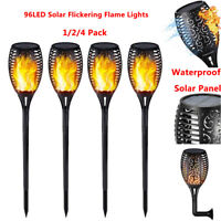 Set of 4 Solar Powered 96 LED Flame Flickering Effect Lights Torch Garden Light