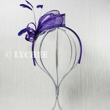 Purple Sinamay Feather Loop Spring Racing Party Fascinator Hatinator Headband