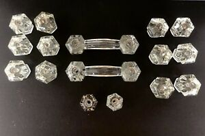 14 Antique Vintage GLASS Hexagonal Drawer Pulls Knobs and 2 GLASS Handles