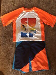 NWT Boys OP Orange Blue Swim Trunks and Swim Shirt Rash Guard XL 14-16