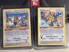 Super Mario Pikachu & Pikachu Mario Awesome Custom Pokemon Card (No Charizard)
