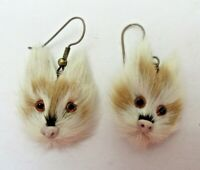 Light CAT Face EARRINGS Genuine Rabbit Fur Pierced EUC Handmade Jewelry Vtg