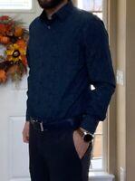 Men's Perry Ellis Blue Geo Slim Fit Stretch Button Up Long Sleeve Shirt Medium