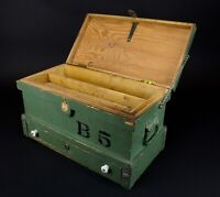 Antique Primitive Small Wood Carpenter's Chest Trunk Tool Box Vintage