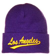 Los Angeles L A Knitted Beanie Hat Purple Yellow Gold Lakers Style Ski Hat