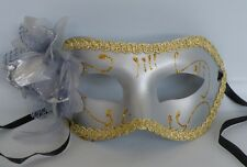 Venetian Face Masquerade Mask - Grey & Gold With Flower Ribbon Tie On