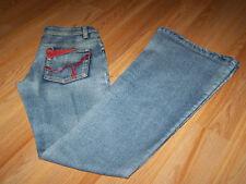 Juniors Size 28 Diesel Denim Blue Jeans Flare Legs Red Embroidery 32.5 Inseam