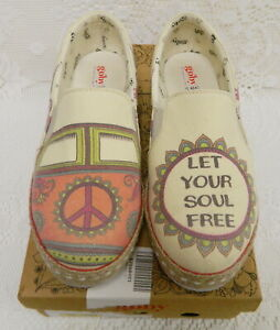 GOBY PEACE LET YOUR SOUL FREE CANVAS ESPADRILLE SLIP ON SNEAKERS FLATS WOMENS 9