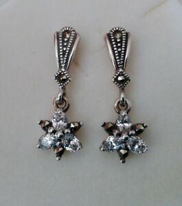 Vintage Solid 925 Sterling Silver Art Deco Gem Set Marcasite Drop Earrings 4.4g