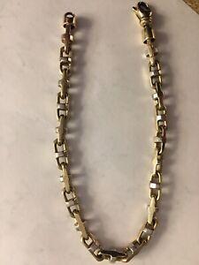10Kt Mens Boston Link Bracelet Two Tone 21.9 Grams 9 Inch Lg Solid Gold