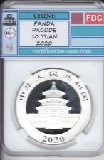 PANDA PAGODE 10 YUAN 2020 1 ONCE D'ARGENT CHINE