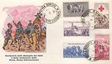 ITALIA BUSTA FDC 100 INDIPENDENZA CROCE ROSSA RED CROSS 1959 RACCOMANDATA  ROMA