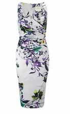 Lipsy VIP Pencil Floral Dress 8 Multi Lilac Midi Ruched Party Wedding Summer