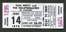1978 Tom Petty David Johansen unused full concert ticket Portland OR