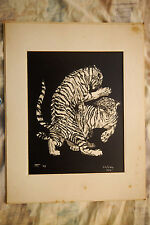 "J. Van Blackburne Lithograph, Limited Edition, Untitled (""Fighting Tigers"")"