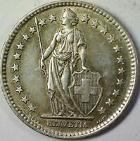 1961 B Switzerland 2 Francs Average Circulated Helvetia Silver Coin