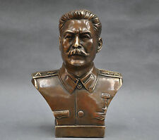 collectible 6'' Russian Leader Joseph Stalin Bust Bronze Statue