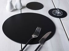 Set of 8 BLACK ROUND Leatherboard PLACEMATS & 8 COASTERS (16 Piece Set)