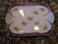 VINTAGE ANTIQUE CHINA POTTERY PURPLE ACCENTS ORANGE FLOWER DISH PLATTER 10 BY 7
